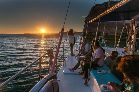 Wine tasting during the Lagos Sunset Cruise